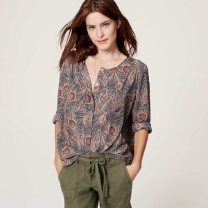 LOFT Peacock Feather Blouse Collarless Blouse